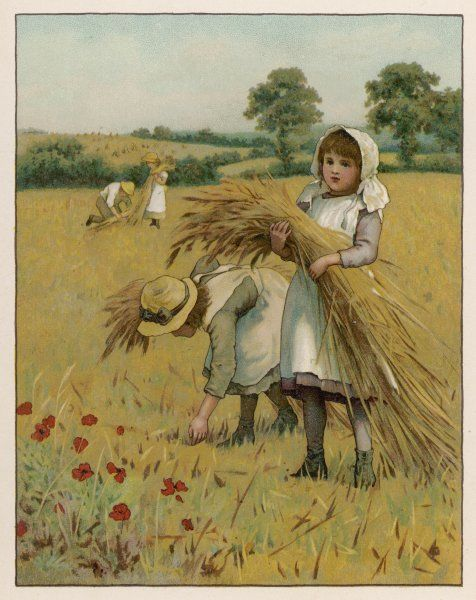 Two girls gleaning in a field