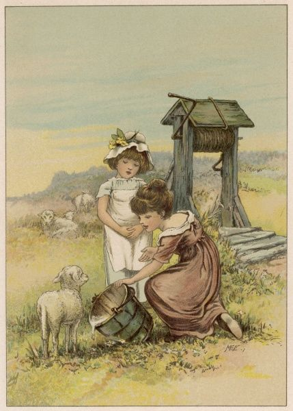 Two little girl with lambs by a well in the country