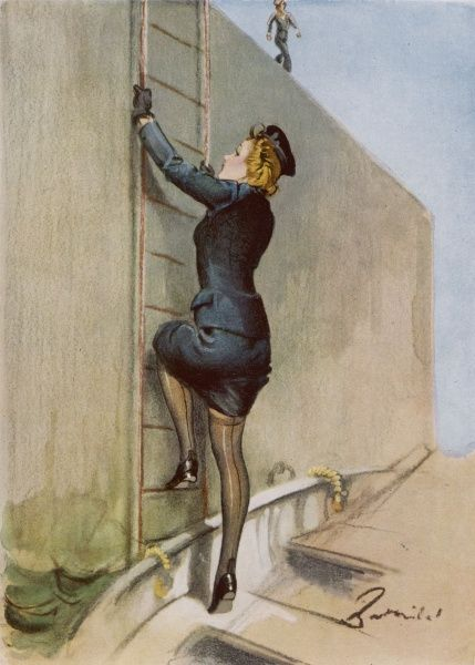 A wren climbing up a ladder in a harbour revealing stocking tops in the process