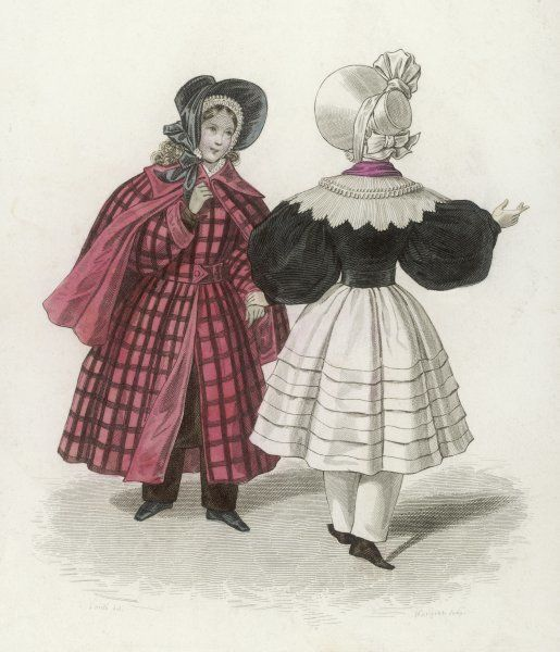 Two girls, one in a red coat, the other in black and white; both wear bonnets