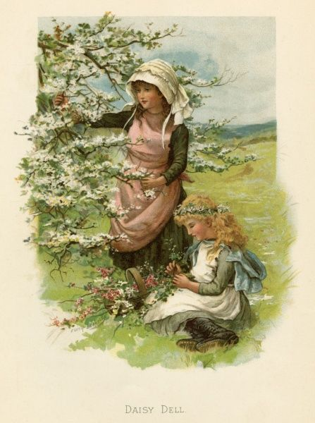Two girls in a meadow, picking wild flowers