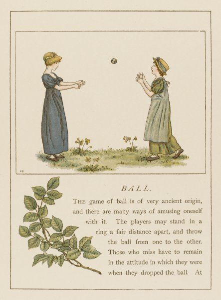 Two young girls playing catch