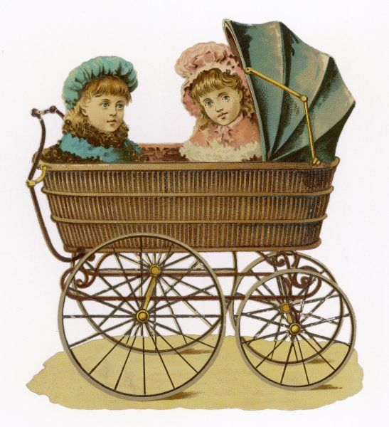 Two little girls share a pram