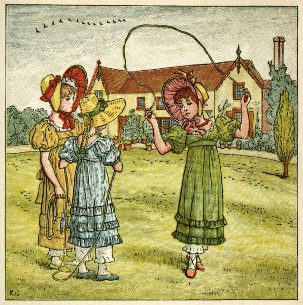 Three girls with their skipping ropes on a village green.  1880
