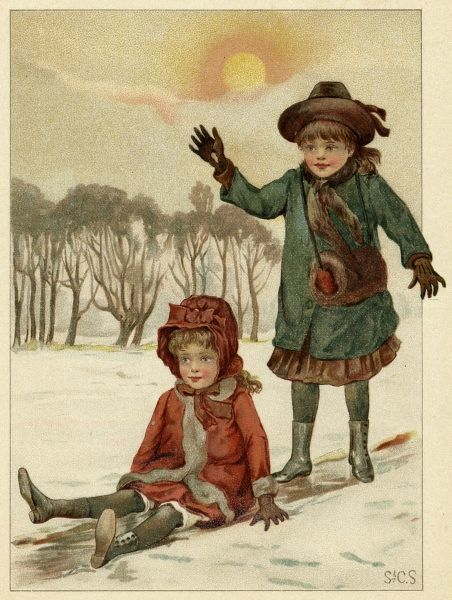 Two girls are sliding - one keeps her footing, the other 'she slid so fast, she slid so free, that down fell she !' Date: circa 1880