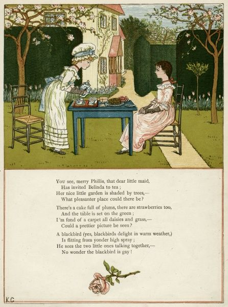 Two girls taking tea on the lawn.  first published 1879