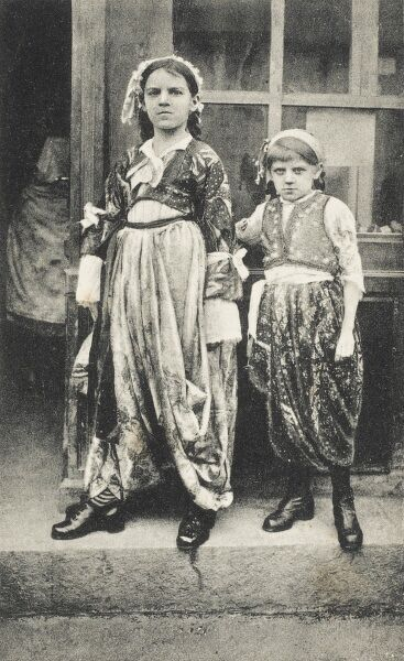 Two young girls in traditional Turkish rural costume