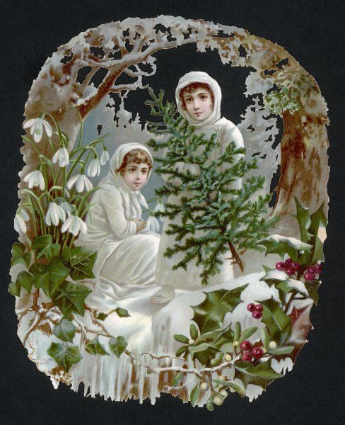 These two girls, dressed all in white, went out into the woods to find a tree ; they also found holly, ivy, mistletoe and snowdrops