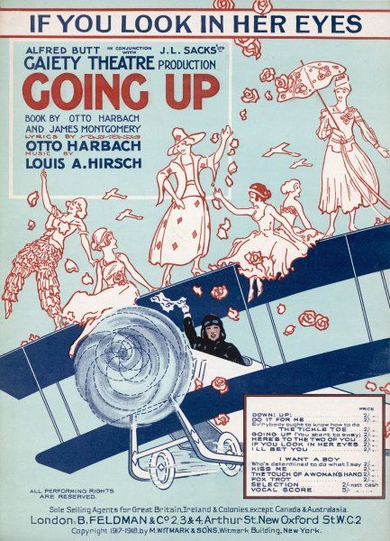 Some daring, yet foolhardy young ladies pose on the top wing of a bi-plane. The pilot waves his handkerchief and roses fall from the sky