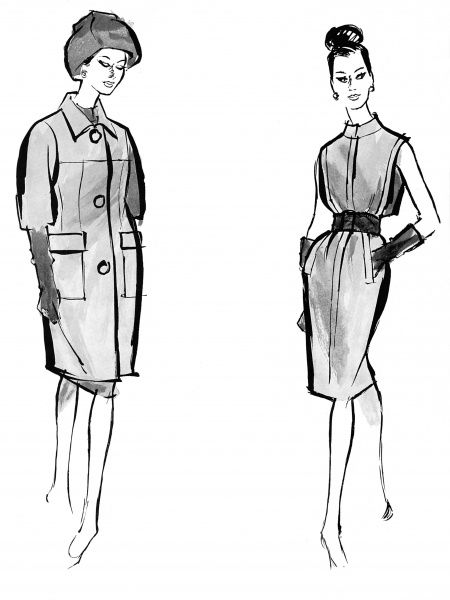 A Givenchy coat (on the left) of heavy white wool with a small collar, huge buttons, a horizontal yoke line running parallel to the pockets nad a nine-tenths hemline