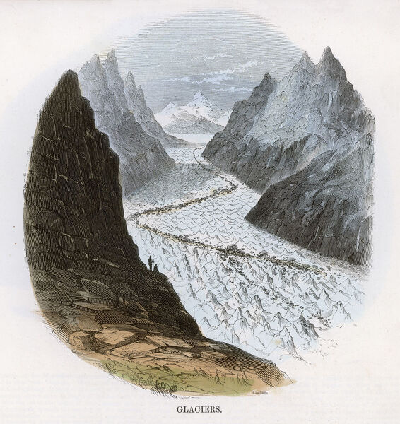 A glacier in the Alps carving a valley between mountain peaks; a dark line of medial moraine is visible down the centre of the ice