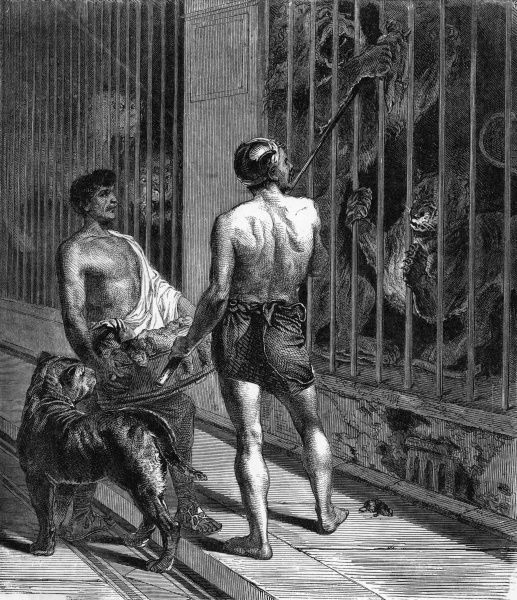 A gladiator feeds caged animals. Date