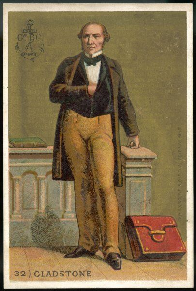 WILLIAM EWART GLADSTONE standing proudly, with the red despatch case of the Chancellor of the Exchequer, containing the Budget, at his feet