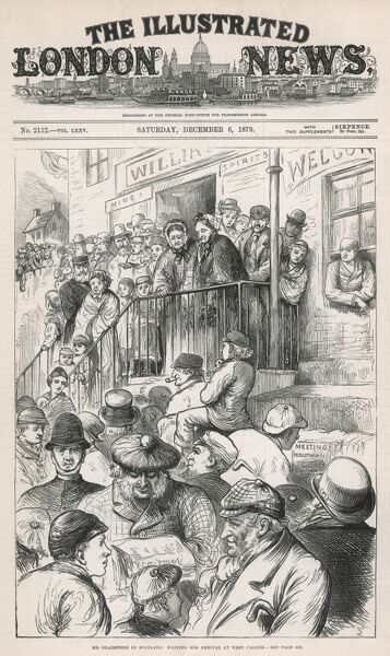 Front cover of the ILN depicting people awaiting the arrival at West Calder railway station of four-times Prime Minister William Ewart Gladstone on his tour of Midlothian during a US-style campaign which saw the elderly statesman come out of