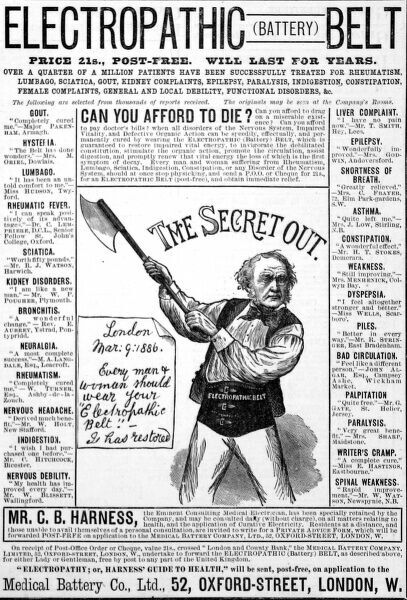 Advertisement from 1886 for the Medical Battery Company's Electropathic Belt, featuring a caricature of William Gladstone, Prime Minister wielding an axe and wearing the belt