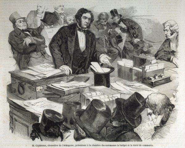 WILLIAM EWART GLADSTONE As Chancellor of the Exchequer he presents his budget to the Commons