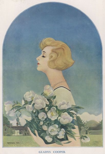 A double-page portrait of Gladys Cooper (1888-1971), English actress of stage and screen. She is seen in profile with her eyes closed, holding a large bunch of flowers. Date: 1925
