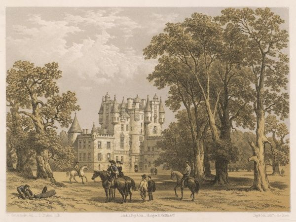 View of Glamis Castle in Forfarshire, Scotland