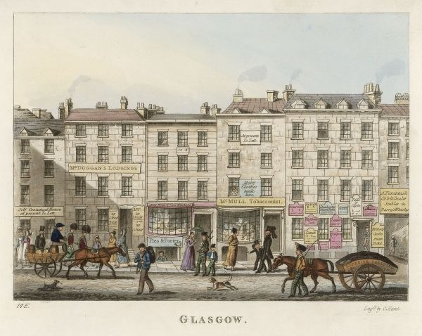 Street scene in Glasgow in the early 19th century, with shops and street traffic including a coal cart