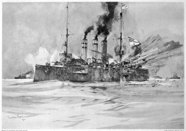 The British ship 'Glasgow' fires upon the 'Dresden' off the Chilean coast. The German captain scuttled his vessel after realising that the battle was lost
