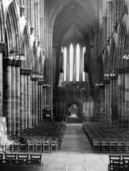 The fine Nave of Glasgow Cathedral, Scotland, the most perfect example of Pre- Reformation Gothic architecture in Scotland. Date: 14th century