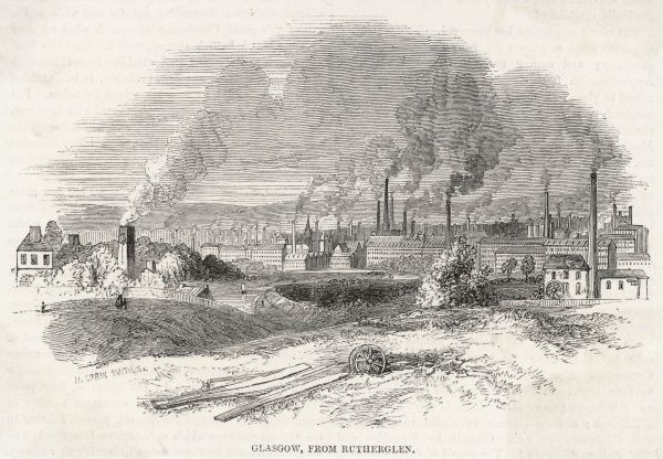 General view of Glasgow from Rutherglen, showing the profusion of factories in and around the city