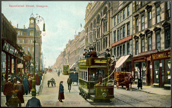Sauchiehall Street - electric tram, horse-drawn wagon