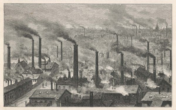 View of Glasgow showing the profusion of smoke-emitting factory chimneys in the late 19th century
