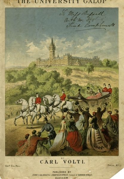 'THE UNIVERSITY GALOP' Edward and Alexandra are cheered as they leave after opening GLASGOW UNIVERSITY in its fine new building by George Gilbert Scott Date: 1870