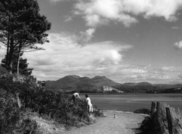 A view across the Glaslyn Estuary, Portmadoc, Caernarvonshire, Wales, viewed from Borth-y-Gest. Date: 1950s
