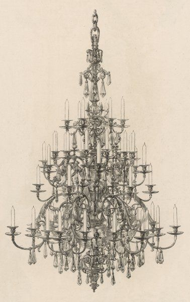 CHANDELIER Made from glass and bronze