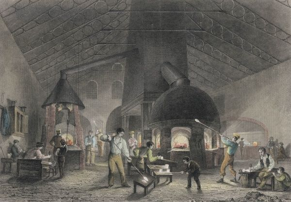 Workers round the furnace in Mr Apsley Pellatt's glass house in Holland Street, Blackfriars, London