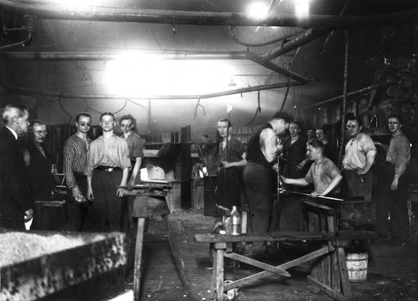 Workers at Trelleborg glassworks, 1934. Date: 1934