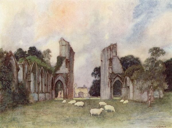 Glastonbury Abbey, Somerset: remains of the Great Tower and other buildings Date: 1908