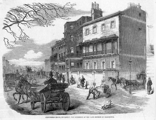 Carriages, a hand cart and a barking dog disturb the tranquillity of Gloucester House, Piccadilly, residence of the late Duchess of Gloucester