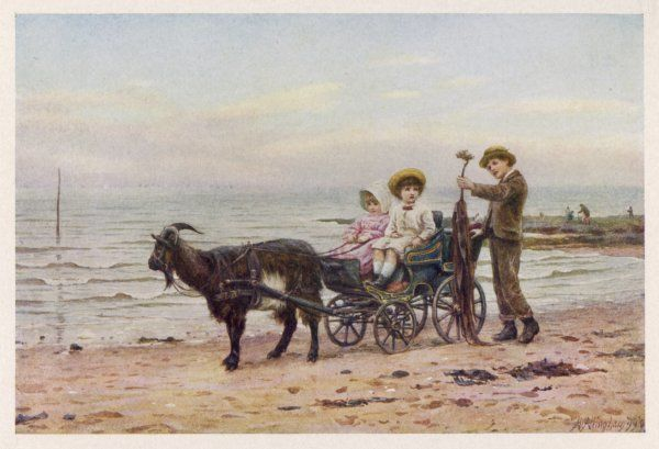 The artist's children in a goat carriage on the sands at Broadstairs, Kent