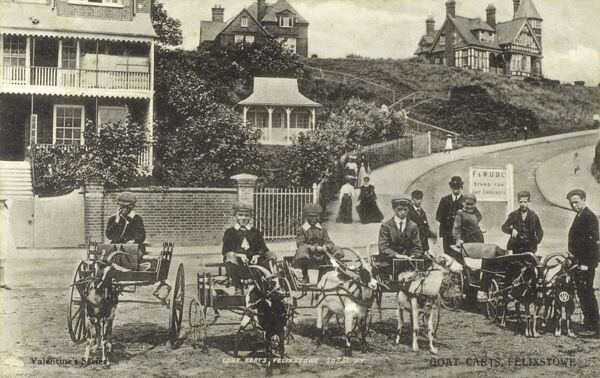 The Stand for Goat Carriages at Felixstowe, Suffolk Date: circa 1900