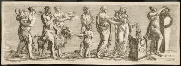 A goat is led to the effigy of a deity - probably Apollo - accompanied by a butcher with an axe and a bunch of pious ladies, one with a child who is leading the victim