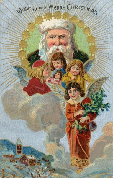 Christmas angels appear from the sky while Father Christmas looks