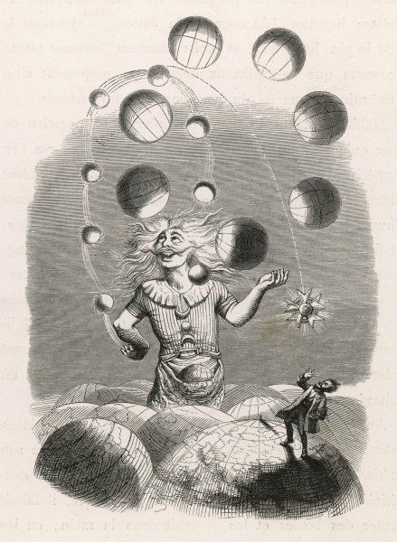 God depicted as a juggler, amusing himself with the worlds he has created