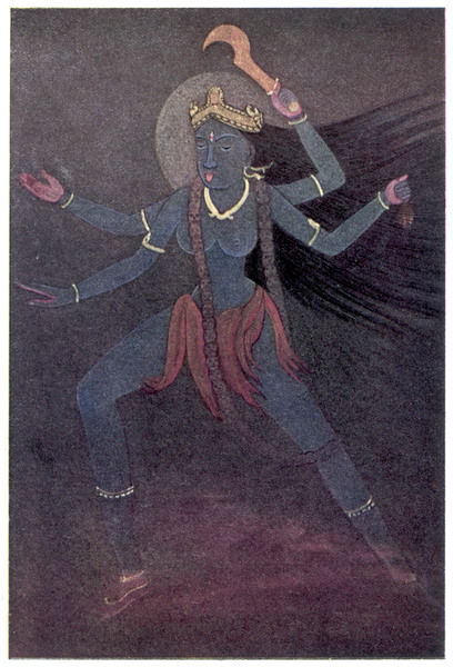 The Goddess Kali, the malevolent aspect of Shiva's wife Parvati. she wears a necklace of 50 human skulls & frequents cremation grounds