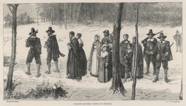 The Pilgrim Fathers make their way to church, heavily guarded against possible attacks by Native Americans
