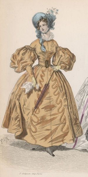 Late C19th century depiction of clothing from the 1830s. The dress has full sleeves tight from the elbow to the wrist & a full skirt & is worn with a belt & ruff