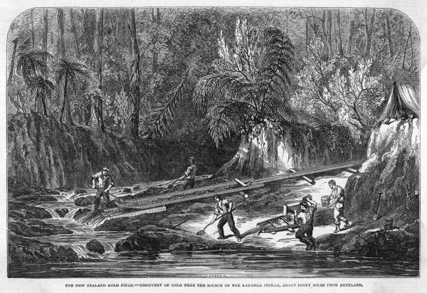 The New Zealand gold field: discovery of gold near the source of the Kapanga Stream, about 40 miles from Auckland; miners camped close to the river pan for gold