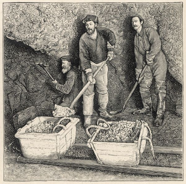Prospectors extracting gold- bearing ore, Klondike