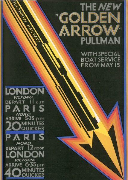 Colour advert for the 'new' 'Golden Arrow' Pullman train from London to Paris with special boat service