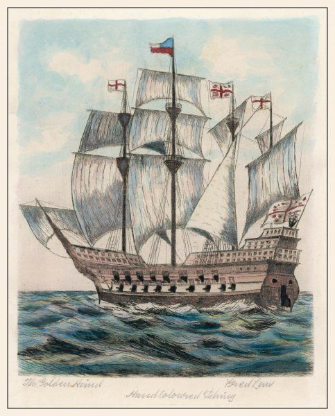The ship of sir Francis Drake, formerly named 'Pelican&#39