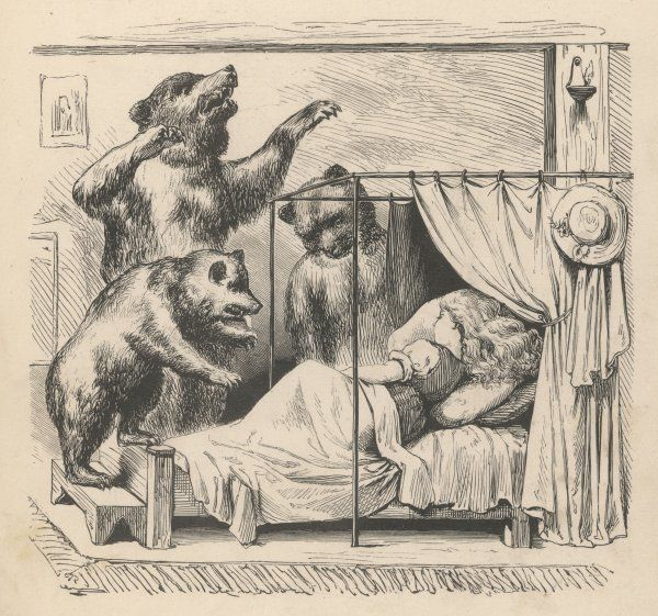 The three bears discover Goldilocks asleep in their bed - they are not amused