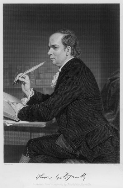 OLIVER GOLDSMITH depicted in the act of writing with his autograph