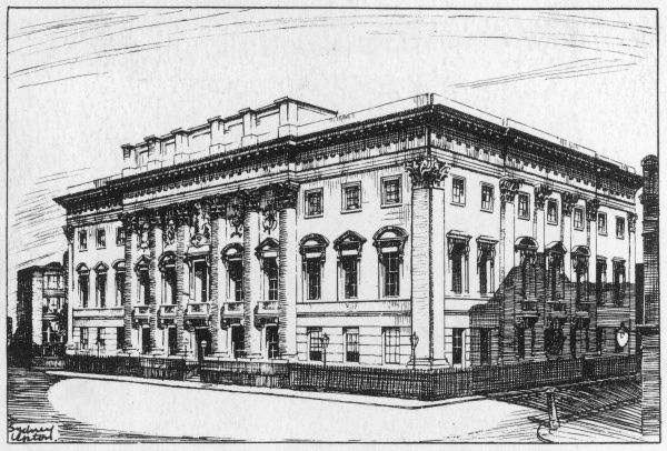 Situated at the corner of Foster Lane & Gresham Street this is the third Hall of the Goldsmiths' Company. By Philip Hardwick R.A it open in 1835